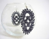 North Star - Crocheted earrings in dark grey