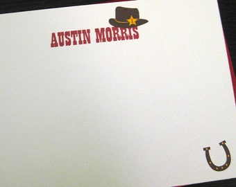 little cowboy personalized notecards