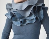 Scarf, Nuno felted ruffle shawl, Wavy scarf, Ruffle scarf in grey and jeans blue, Eco fashion, Statement gift for a special person