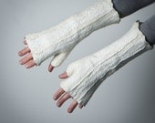 Felted Fingerless Mittens / Gloves / Wool Arm Warmers - In Ivory -  ready to ship now  - Gift under 50 USD