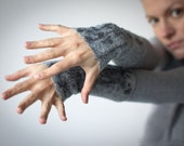 Felted Arm Warmers / Fingerless Mittens / Wool Gloves - Fly In Gray - ready to ship now - Gift under 50 USD