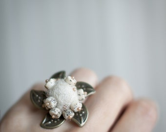 Statement ring Flower natural wool milk ivory white unusual ring with handmade felt In blooms Ready to ship gift 25 USD and under All sizes