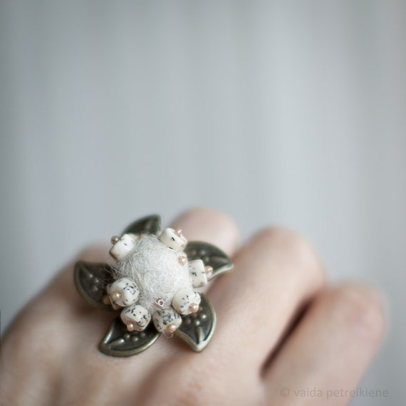 Statement ring Flower natural wool milk ivory white unusual ring with handmade felt In blooms Ready to ship gift 25 USD and underAll sizes