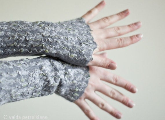 Felted wrist and arm warmers Wool fingerless mittens gloves Ready to ship  Gift under 50 USD Eco fashion