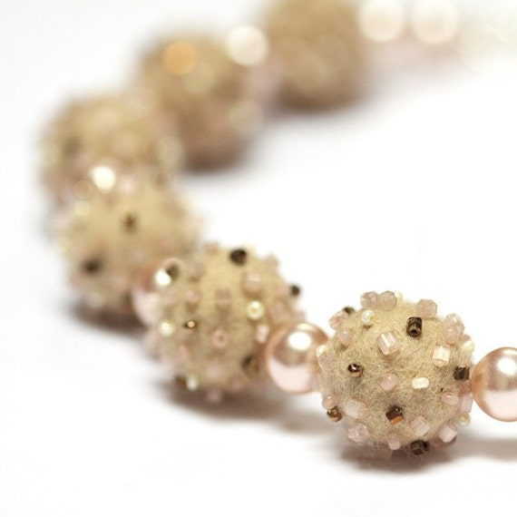 Natural Elegance - OOAK Necklace with Handfelted Beads and Glass Pearls