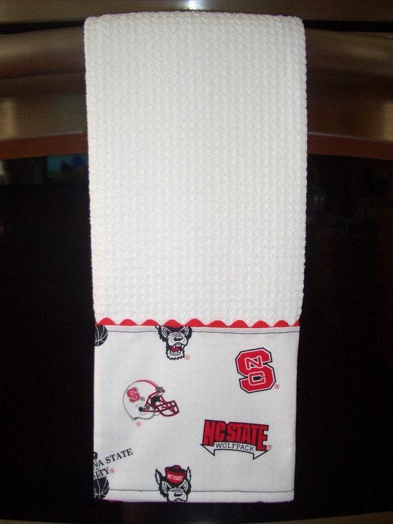 NCSU - White Print Fabric Embellished Dish Towel - Set of 2