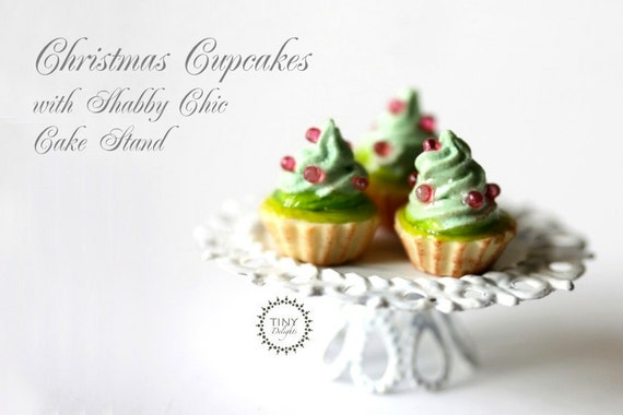 Christmas Cupcakes Presentation - Shabby Chic Stand -12th Scale