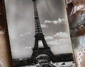 Black and White PARIS Postcard Book with Eiffel Tower