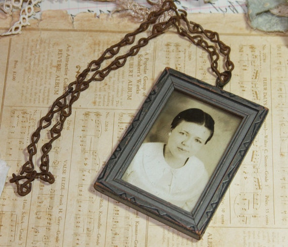 Vintage Framed Black and White Photo on Chain (SALE)