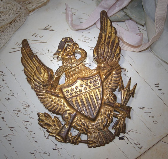 Vintage Metal EAGLE Military Emblem by VintageSupplyCo on Etsy