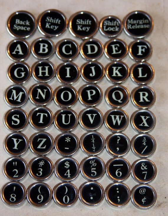 Salvaged Black Typewriter Keys for Jewelry Making Assemblage or Steampunk Design