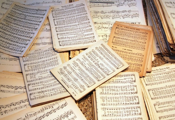 Vintage Sheet MUSIC (24) tied with a salvaged key