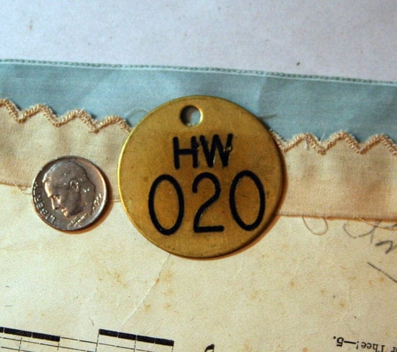 Salvaged BRASS TAG with Numbers for Mixed Media and Altered Art