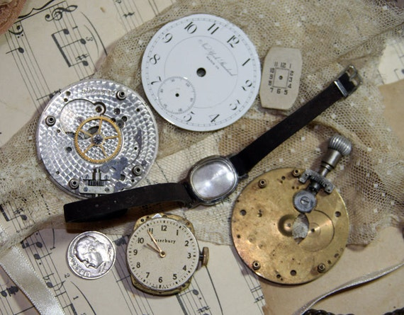 Watch Parts Movements Porcelain Face for repurposed jewelry and Art work