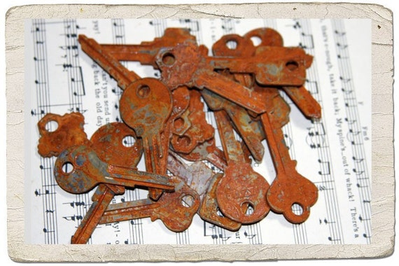 A Dozen Rusted KEYS Grungy and ready for your Mixed Media Project (SALE)