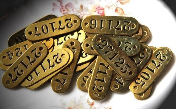 Brass Locker Number TAG (1) for Steampunk Mixed Media or Jewelry