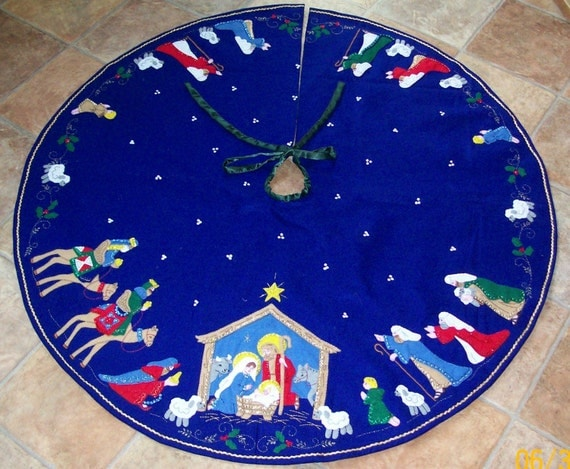 Nativity Felt Applique Tree Skirt With By Mandaleighdesigns