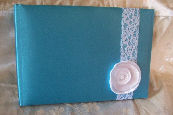 White Flower and Lace Turquoise Blue Satin Guest Book