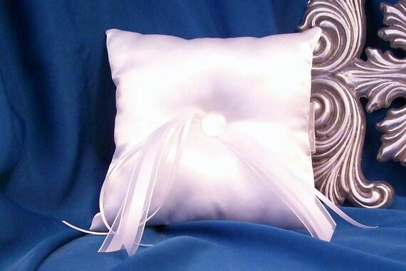 Simply Classic White Satin Ring Bearer Pillow