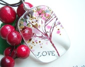 Tree of Life Fused Glass Pendant Cherry Blossoms A KarmaBeads Original Sakura spring flowers floral pink brown mother family tree