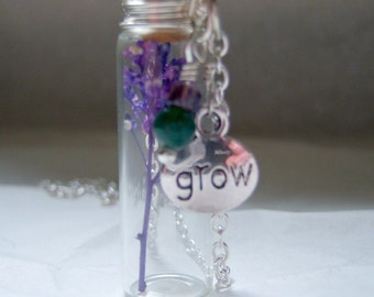 Glass Vial Necklace Glass Bottle Necklace  Make a Wish Necklace with Purple Flower - 24 inches