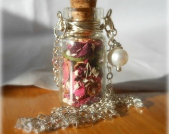 Glass Vial Necklace Glass Bottle Necklace  Make a Wish Necklace with Tiny Dried Organic Roses and Freshwater Pearl - 18 inches