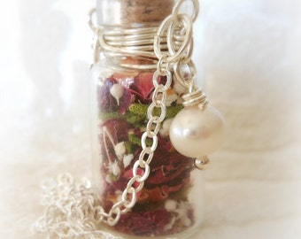 Glass Vial Necklace with Tiny Dried Organic Roses and Freshwater Pearl - 20 inches