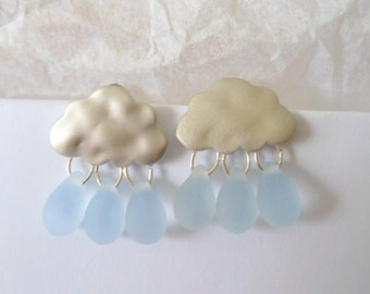 Raindrop Silver Rainy Day Silver Blue Cloud Earrings