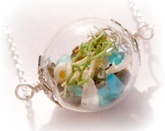 Silver Mermaid Lake Michigan Sea Glass Long Beach Boho Ocean Treasure Necklace - 24 inches