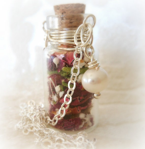 Glass Vial Necklace Glass Bottle Necklace  Make a Wish Necklace with Tiny Dried Organic Roses and Freshwater Pearl - 24 inches