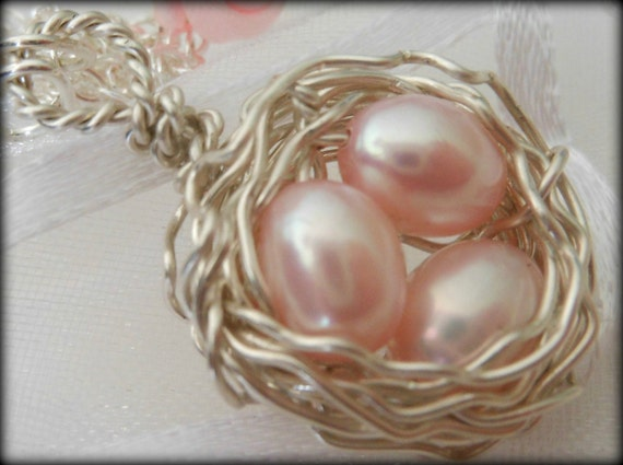 RESERVED: 2 Birds Nest Necklace Wire Wrapped Pink Freshwater Pearls 3 Eggs Sterling Silver