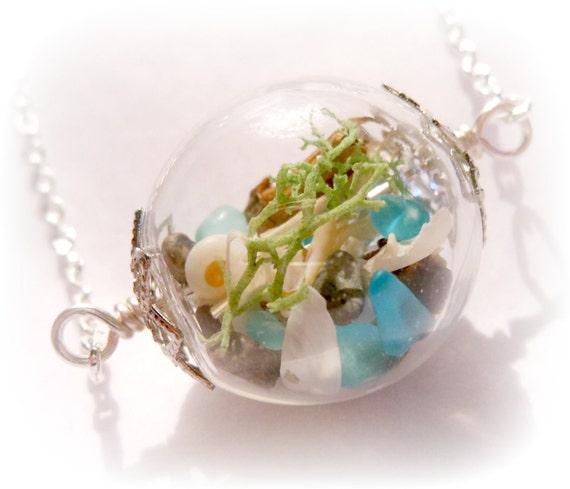Silver Mermaid Lake Michigan Sea Glass Long Beach Boho Ocean Treasure Necklace - 24 inches