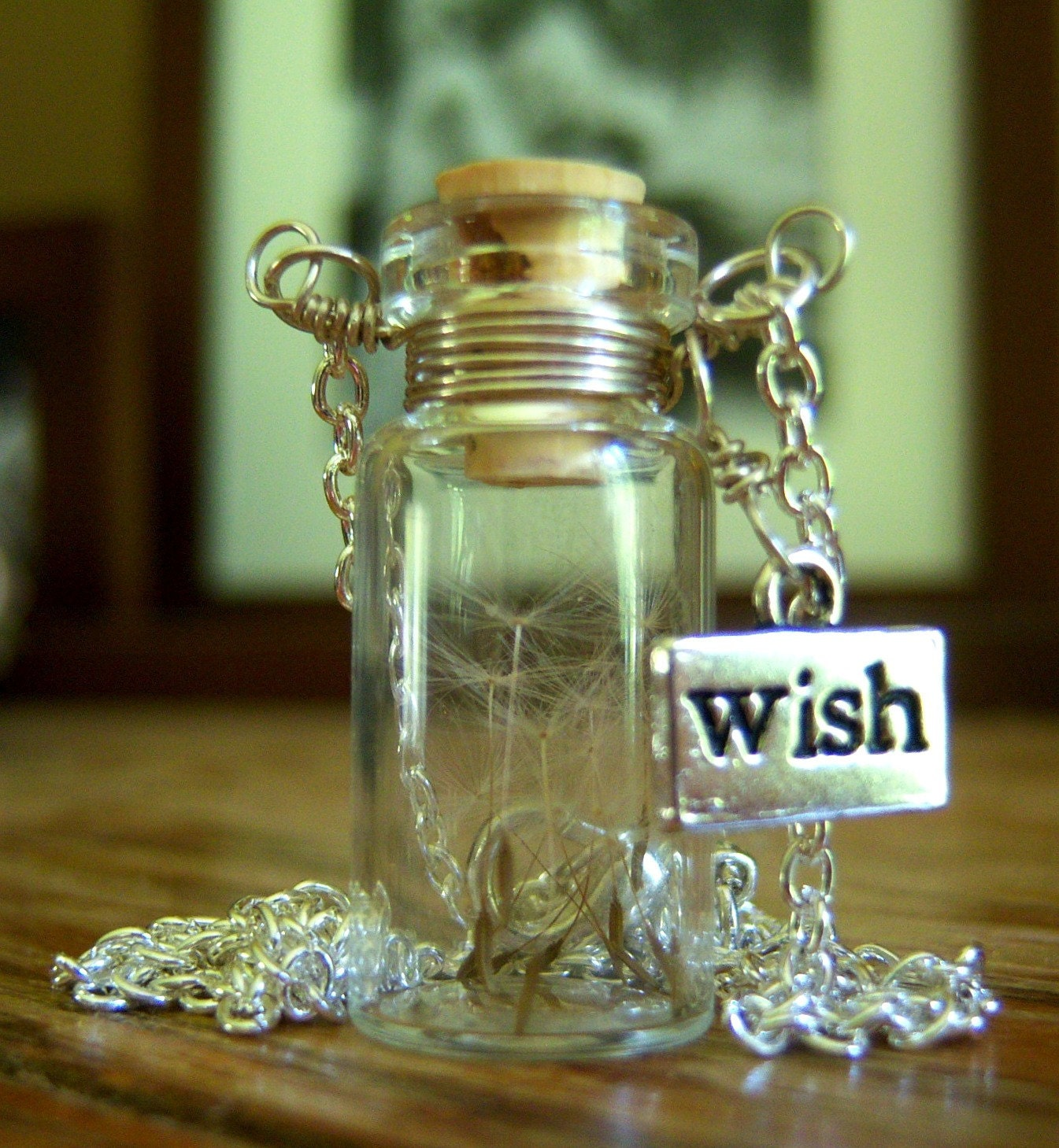 Dandelion wishes glass bottle necklace make a wish necklace for Making glasses from bottles