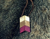 Yuchi Arrow Chevron Tribal Necklace in Plum, Gold and Natural Wood Color Block