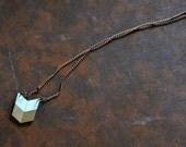 Yuchi Mini Arrow Chevron Tribal Necklace in White and Gold Color Block
