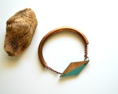Yuchi  Diamond Geometric Tribal Bracelet in Moss Green and Gold Color Block with Brass Tube