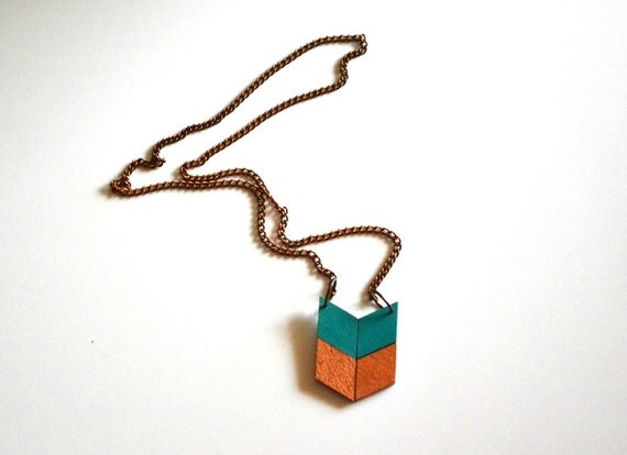 Yuchi Mini Arrow Chevron Tribal Necklace in Teal Green and Copper Color Block