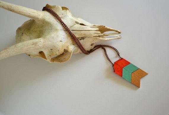 Yuchi Arrow Chevron Tribal Necklace in Tango Orange, Mint Green and Metallic Gold Color Block
