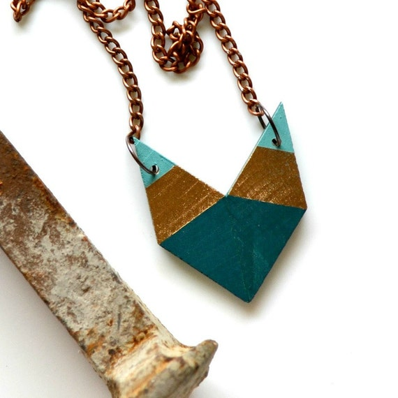 Yuchi  Arrowhead Chevron Geometric Tribal Necklace in Soft Spring Green, Metallic Gold and Deep Forest Green