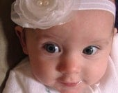 WHITE VINTAGE looking ORGANZA Stretchy flower with pearls headband other  beautiful colors available