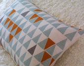 Blue Geometric bolster cushion cover