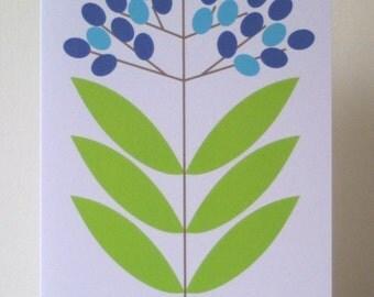 Elderberry Note Card - Blue