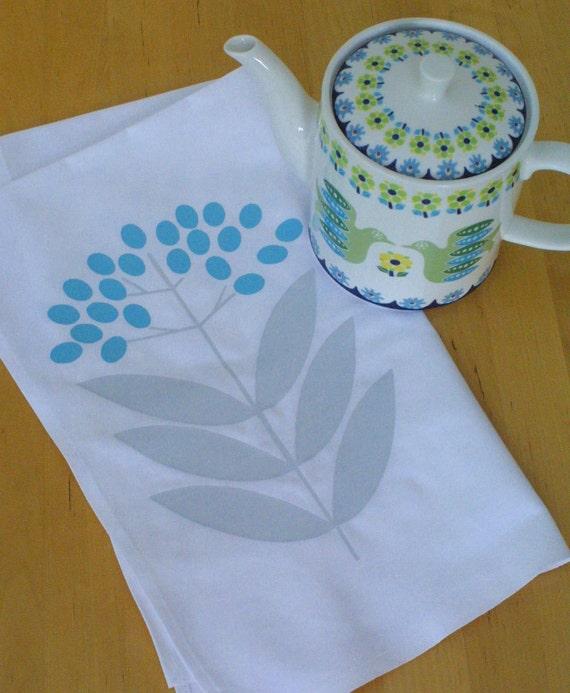 Elderberry Tea Towel in Turquoise