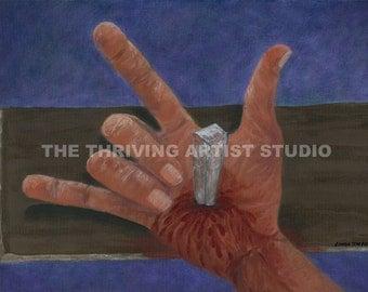 Sign language painting Religious Painting  Print  I LOVE YOU,said Jesus(Sign Language) 16x20 print of original painting