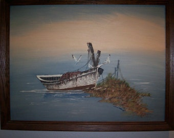 Daybreak Dinghy ,20x26 FRAMED OIL painting original on CANVAS