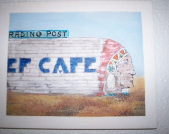 CANVAS 1950s Cafe Trading Post Sign Painting on Canvas