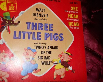 Disney1965 BOOK RECORD Three Little Pigs children