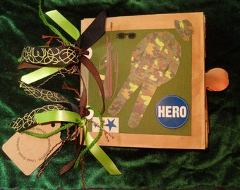 Ask for Military Discount HERO 18 page Military Green embellished Photo Album Add Your PHOTOS Handcrafted Keepsake Scrapbook Memories