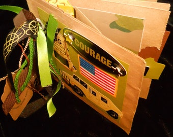 Ask for Military Discount COURAGE HUMVEE 18 pg Military Tan embellished Photo Album Add Your PHOTOS Handcrafted Keepsake Scrapbook Memories