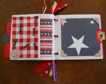 Ready to ship Red White & Blue BAR B Q embellished Photo Album HANDCRAFTED Handmade Keepsake Scrapbook Vacation Memories
